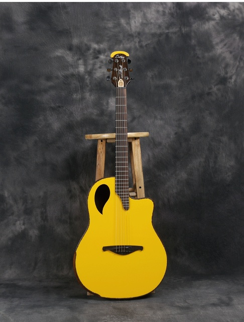 Eastun Round Back Solid Wood Ovation Electric Acoustic Guitar With B