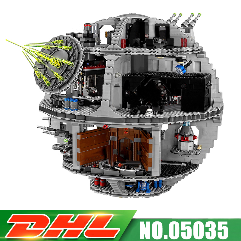 DHL Fit For 10188 LEPIN 05035 UCS Death Star 3803pcs Educational Model Kits Building Blocks Bricks Gift Toy MOC lepin 05035 3803 pcs star wars death star mini figure model building blocks toys kids gift educational for children 10188