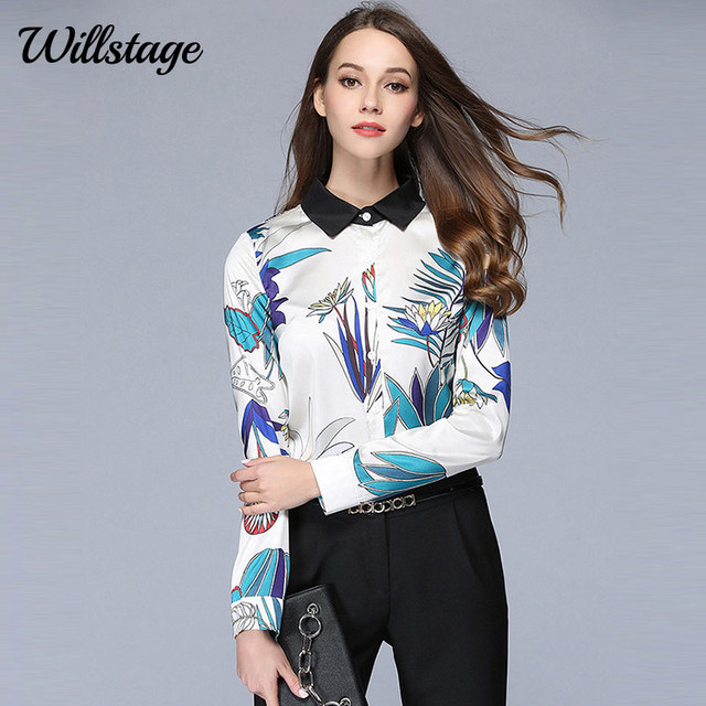 bd3b7bf3509 Willstage 2019 Spring Long Sleeve Shirts Women Leaf Floral Printed Chiffon  Blouse Button Cardigan Formal Office lady work blusas