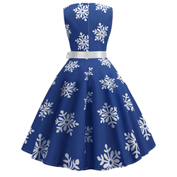 Blue Women Dress 2019 Christmas Casual Snowflake Pinup Vestidos Party Dresses Retro Vintage 50s 60s Robe Femme Rockabilly Swing 3
