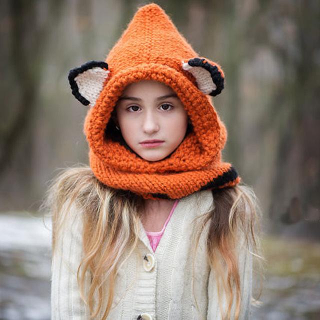 Raposa Chapéu de Raposa-Capuz-Raposa Capuz-Animal Hat-Com Capuz cachecol de Crochê-Capuz-Chunky Crochet Hat-Cachecol Animal bebê menina chapéu
