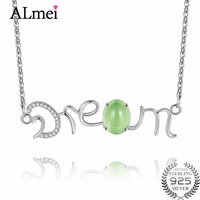 Almei 2.2ct Green Prehnite Monogram DREAM Words Pendants Necklaces 925 Sterling Silver Jewelry for Girl Women with Box 40% FN022