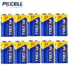 10Pcs * PKCELL 9V סוללה 6F22 סופר כבד סוללות 9V סוללה עבור רדיו אלחוטי מיקרופונים שווה 6LR61 ER9V CR9V