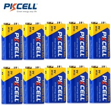 10Pcs*PKCELL 9V Battery 6F22 Super Heavy Batteries 9V Battery for radio wireless microphones Equal to 6LR61 ER9V CR9V