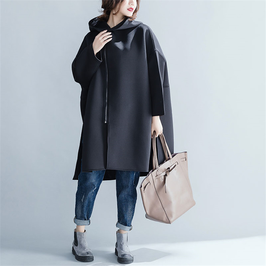Plus Noir Occasionnel Lâche La Taille Longues De Automne Femmes Survêtement Manteau Lady Vêtements Tissu Manches Laine Bureau À Coton Femme AB4wnd