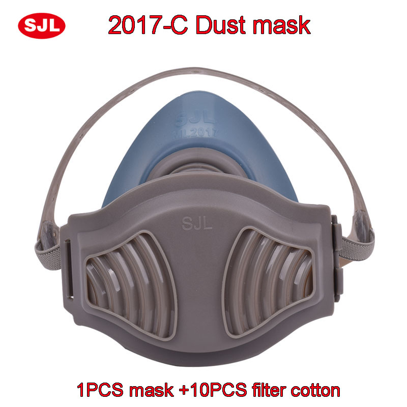 SJL respirator dust mask The New Silica gel Comfortable respirator mask against dust Coal mine Stone polishing dust mask high quality respirator gas mask provide silica gel gray protective mask paint pesticides industrial safety mask