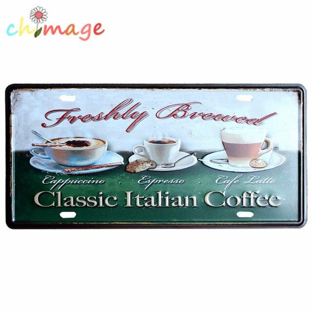 CLASSIC ITALIAN COFFEE CAR LICENSE PLATE Vintage Tin Sign Bar Pub Home KITCHEN  Wall Decor Retro