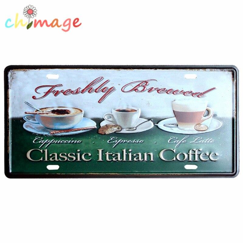 Clic Italian Coffee Car License Plate Vintage Tin Sign Bar Pub Home Kitchen Wall Decor Retro