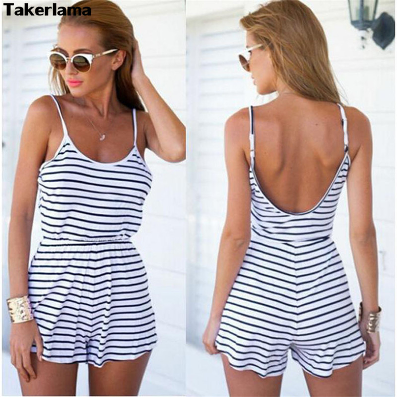 2017 Fashion Women Summer Elegant Sexy Stripe Print Jumpsuits V-neck Sleeveless Backless Casual Slim Female Elastic Waist Overal