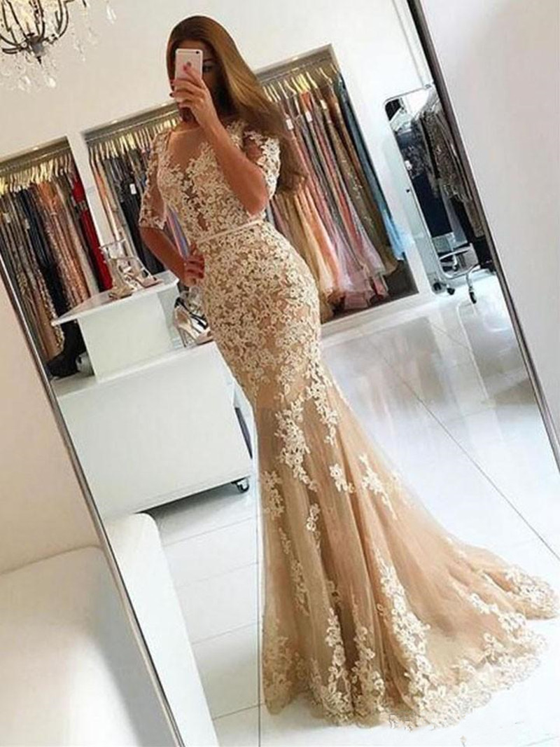 Champagne Tulle Vintage Mermaid Prom Party Dresses Robe De FiestaBackless Long Evening Celebrity Gowns Custom Made Vestidos Long