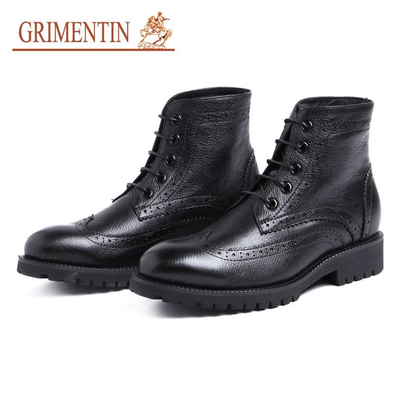 Grimntin мужские ботинки натуральная кожа в британском стиле клюшки Wingtip резные обувь в деловом стиле