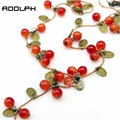 RN-0331 Fashion Jewelry For Women Korean Fashion Vine Red Cherry Necklace