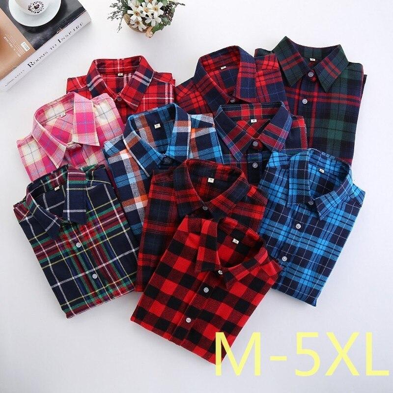 2017 fashion women plaid shirt flannel shirt 5xl long for Plus size plaid flannel shirt