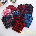 2017 Fashion Women Plaid Shirt Flannel Shirt 5XL Long Sleeve Women Blouse Shirt Cotton Blusas Tops Blouse Plus Size Office Shirt
