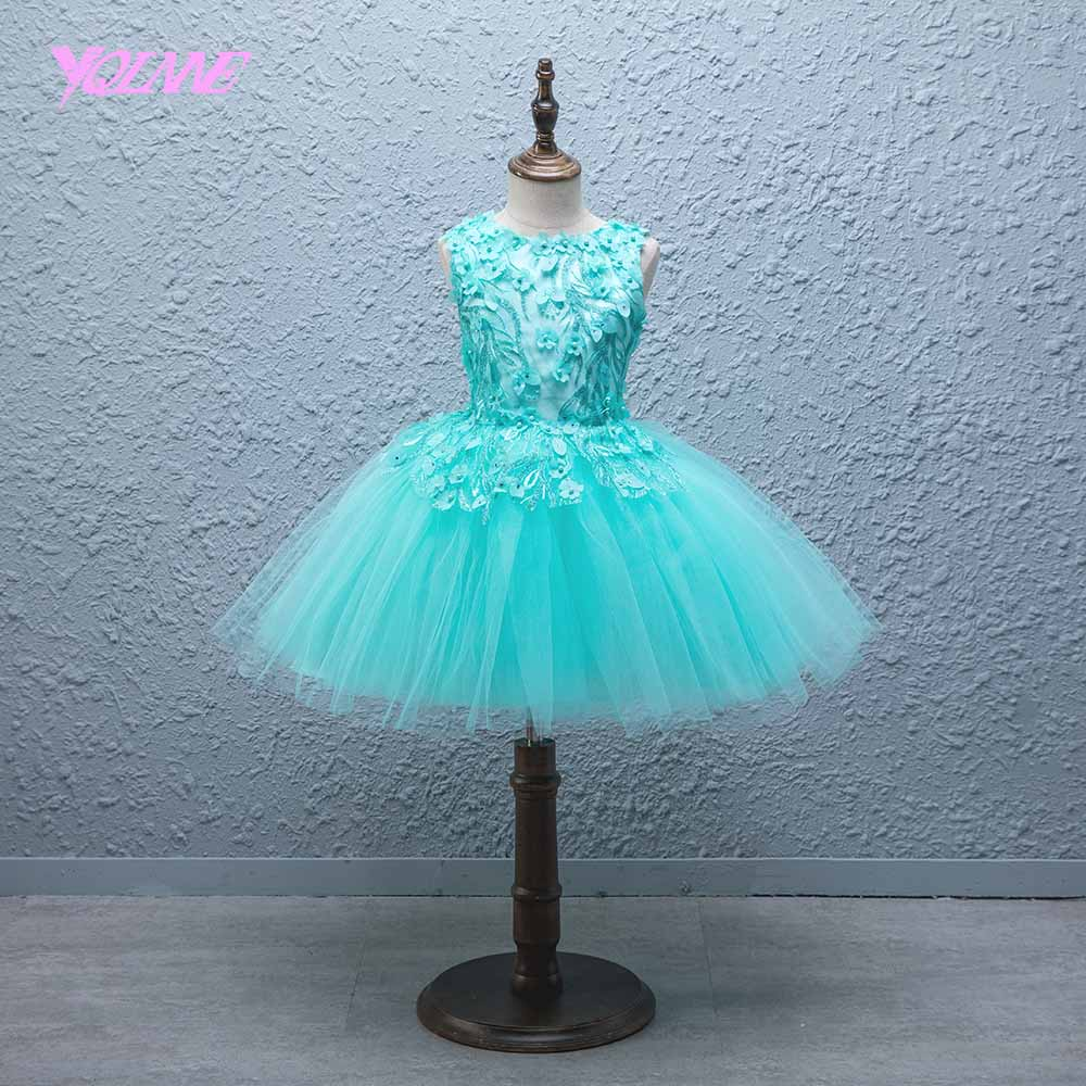 YQLNNE Mint Ball Gown   Flower     Girl     Dresses   Sleeveless Floor Length Communion Party   Dress   Vestido Daminha
