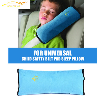 Child Safety Car Seat Belt Pad Strap Harness Shoulder Sleep Pillow Cushion FAUX suede sleep pillow for Kids image