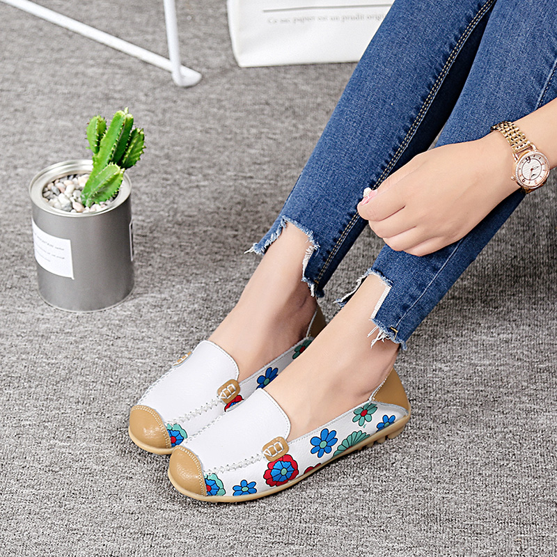 Women Flats Print Casual Genuine Leather Ladies Shoes Comfortable Soft Loafers Moccasins Female Mixed Colors Shoes Spring DT913 2017 new comfortable casual shoes men shoes quality genuine leather shoes men flats soft loafers hot sale moccasins shoes