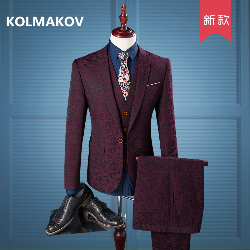 2019 Spring Men Suit A Wine Red Print Suit Wedding Groom Men Suits Mens Brand Slim Fit Mens 3 Pieces (jacket+pants+vest)