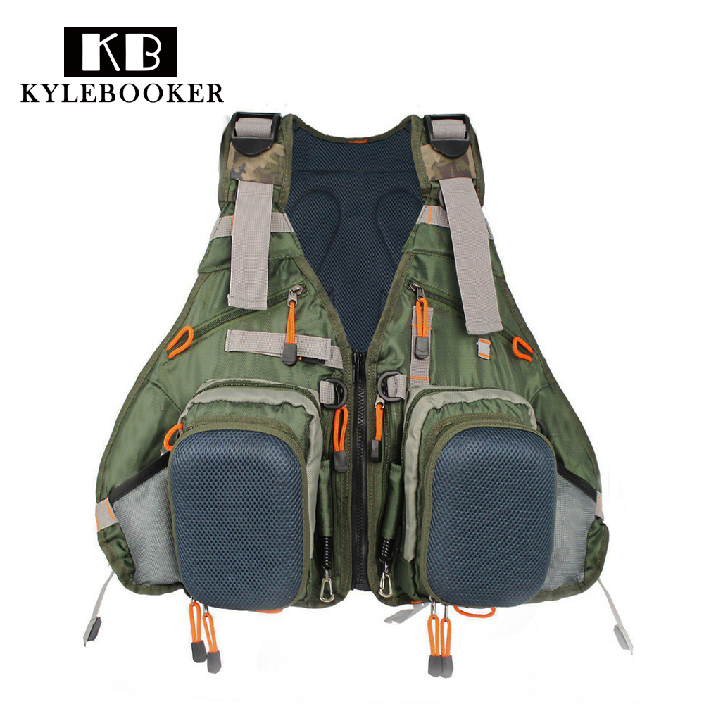 цена на Adjustable Fly Fishing Vest Fishing Backpack Outdoor sports gilet Fishing Jacket clothes Fishing gear Bag with fly patch