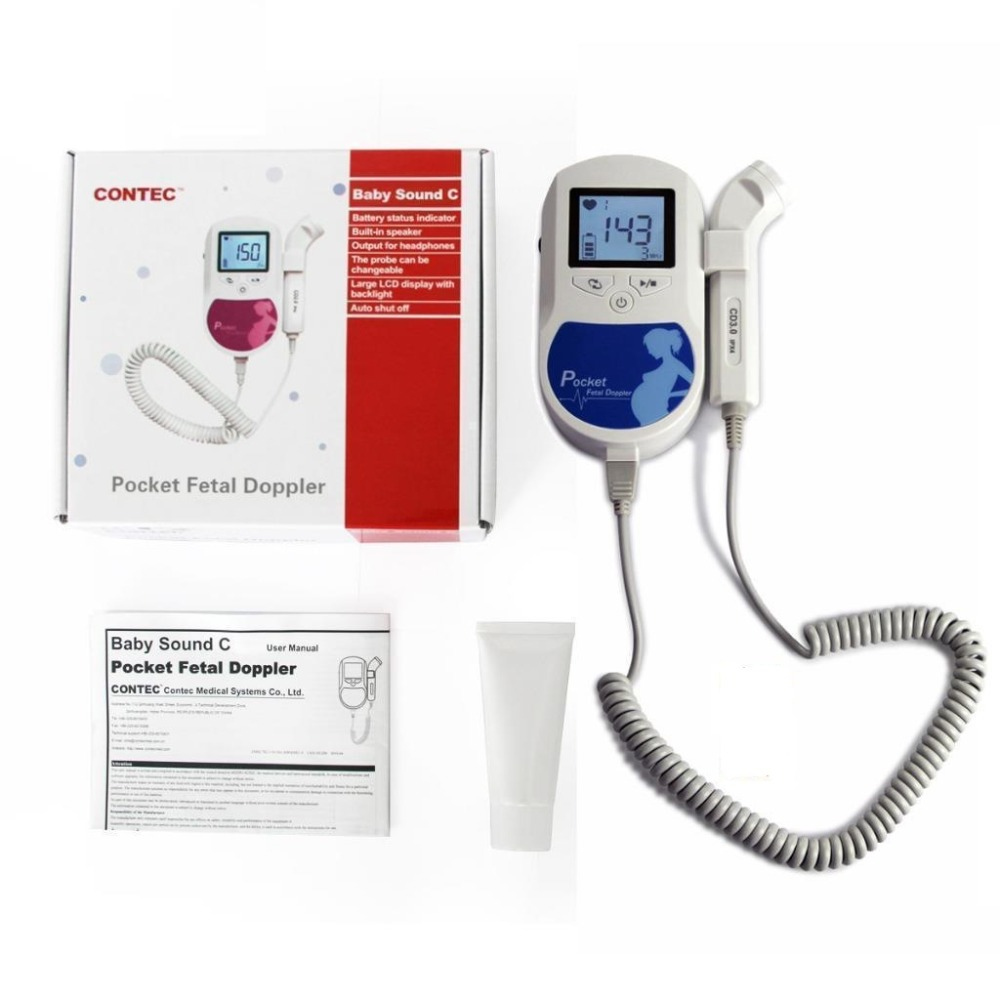 CONTECMED CE FDA Proved Fetal Doppler 3MHz Probe Heart Beat Monitor Backlight LCD Blue Color + Free GeL