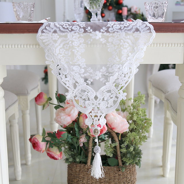 Lace Embroidered Wedding Table Runner Modern Romantic White Floral Table  Runners For Wedding Decoration For Home