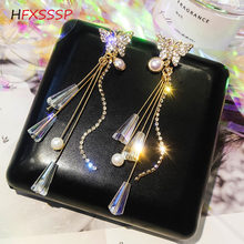HFXSSSP crystal Alloy butterfly temperament earrings long section tassel girl personality fashion gem earrings ear jewelry gift(China)
