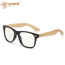 New hot 2017 glasses handmade bamboo arms with clear lens sun glasses men women eyeglasses  1501