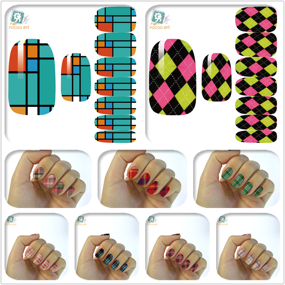 16 Styles Retro Plaid Water Nail Decal Design Beauty Nail Art Designs Full Nails Wraps Sticker