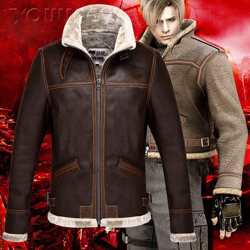 Evil 4 Leon Kennedy Cosplay Jacket Cosplay Faux Leather Costumes
