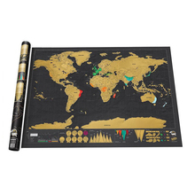 Big Scratch Map Of The World Travel Deluxe Europe Poster Copper Foil Personalized Journal Log Black Wall Stickers Cylinder Pack