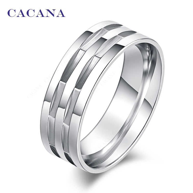 CACANA  Stainless Steel Rings For Women Polishing Personalized Custom Fashion Jewelry Wholesale NO.R172