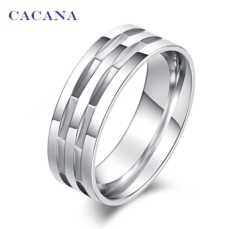 CACANA  Stainless Steel Rings For Women Polishing Stainless Steel Fashion Jewelry Wholesale NO.R172