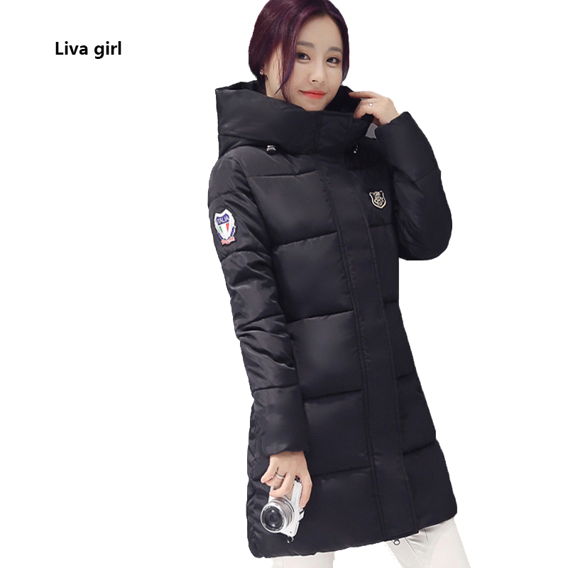 2017 Winter Medium Long jacket For women hooded Thick Warm Coat Casual Full sleeve cotton Overcoat female Solid down parkas 2017 winter classic fashion fur hoodie coat jacket women thick warm long sleeve cotton coats student medium long loose overcoat