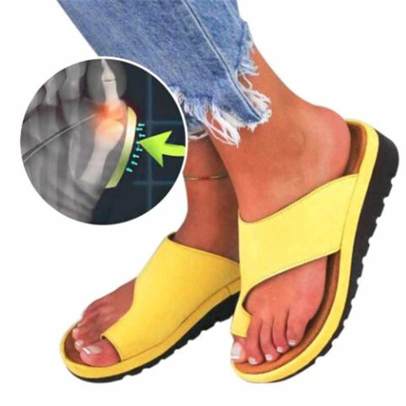 Kadın deri ayakkabı Düz Taban Bayanlar Rahat Yumuşak Ayak Ayak Düzeltme Sandalet Ortopedik Bunion Düzeltici