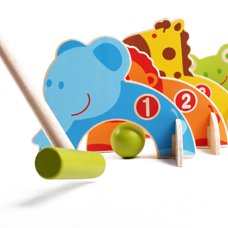 Kids Wooden Cartoon Animals Gateball Toys For Children Funny Sport Play Games Outdoor Croquet Boy Golf Toy Parent child Games