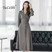 Women Solid A-line Dress Autumn Black Gray Long Sleeve Turn-down Collar Ankle-length Vintage Party Dress Elegant Club Dresses korean kawaii black elegant dress long sleeve button turn down collar autumn dress women s xl sweet simple casual dresses ladies