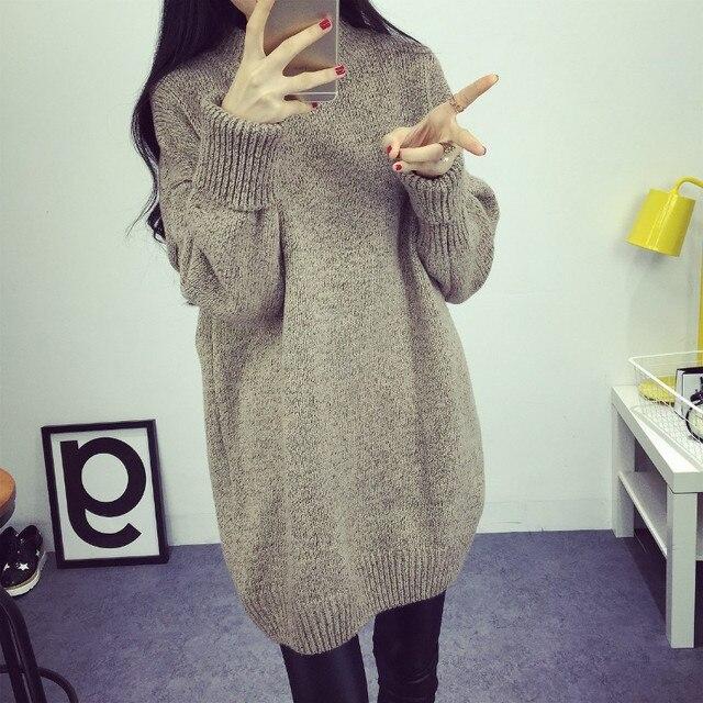 Invierno moda medio cuello alto Suéteres estilo coreano casual suelta  gruesa Jerséis manga larga de punto de11df3a84ec