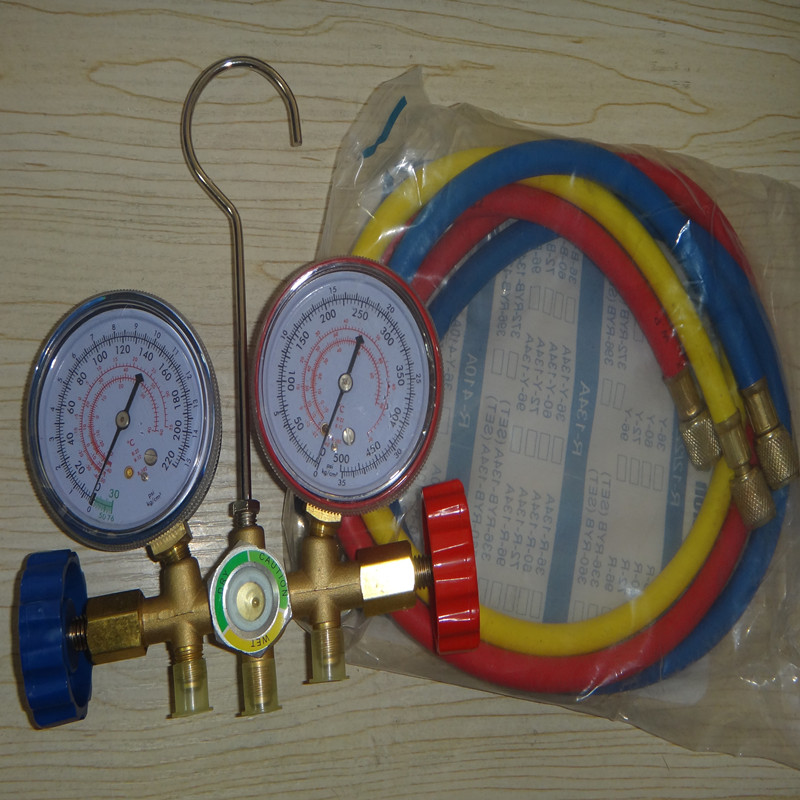 manifold  R134 600A R22 R502 air conditioning pressure gauge 536G and liquid surface valve cover r22 r12 r134 a c manifold high and low pressure gauge three pipes with imperial adapter refrigerator parts