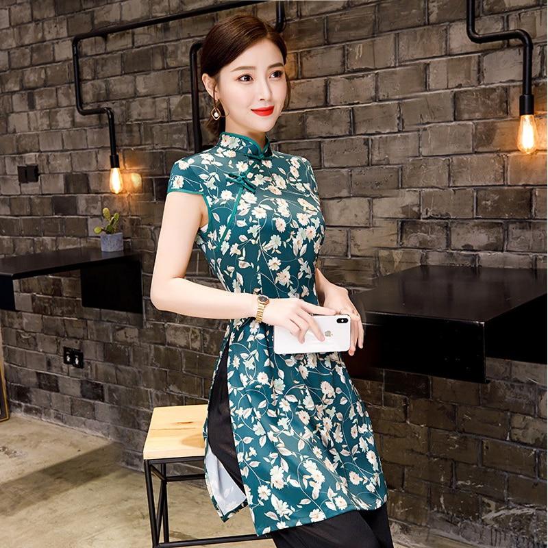 bc40fc6be6f2 Nueva Camisa de verano para Mujer Tops blusa china tradicional Cheongsam  cuello mandarín Qipao ...