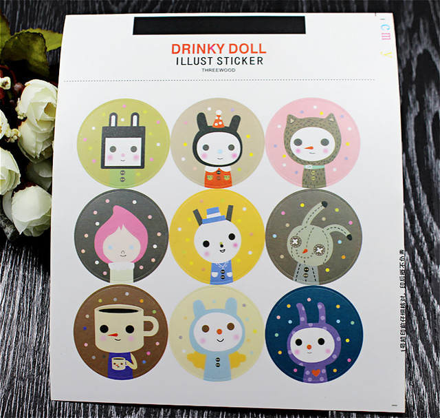 Kawaii rabbit animal stickers diy for photo album glass bottle phone case art round wedding sealing