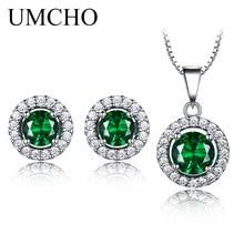 UMCHO чистый 925 пробы Серебряный набор украшений для женщин зелёный Изумрудный камень кулон серьги гвоздики круглый свадебный набор ювелирных изделий