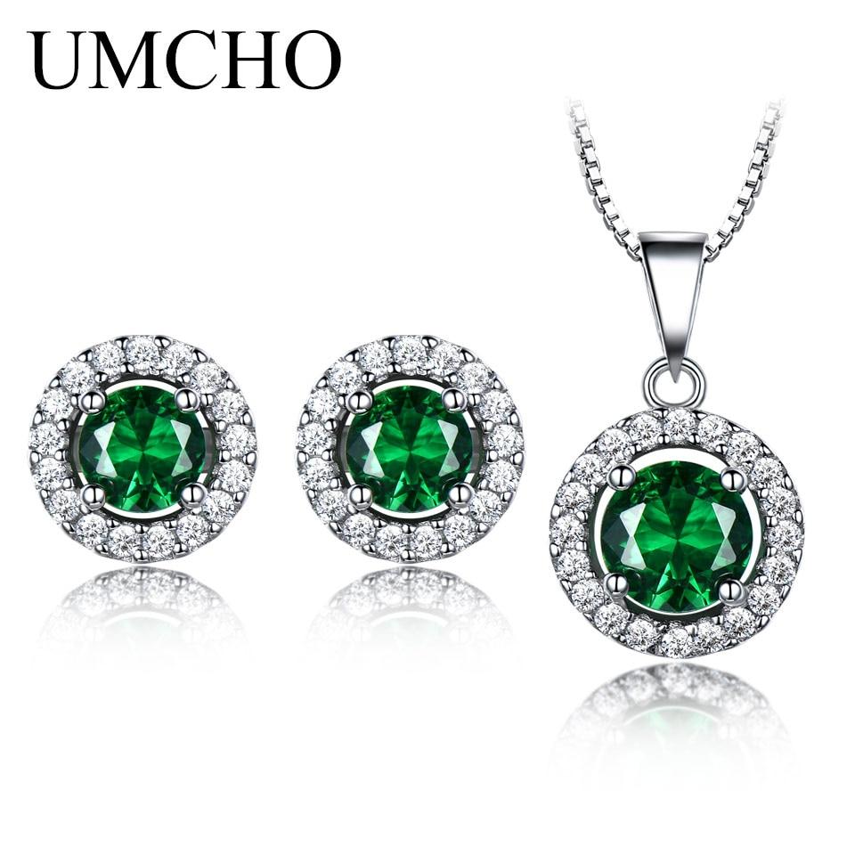 UMCHO Pure 925 Sterling Silver Jewelry Set For Women Green Emerald Gemstone Pendant Stud Earrings RoundWedding Set Fine Jewelry