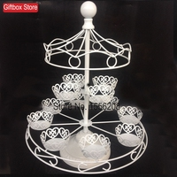 Wrought Iron White 12 Cups Cake Stand Carousel Cupcake Holder For Party Decoration