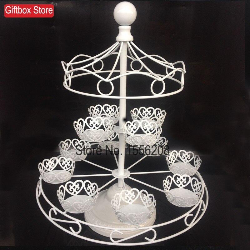 Fer forgé blanc 12 tasses gâteau support carrousel guidon pour la décoration de fête