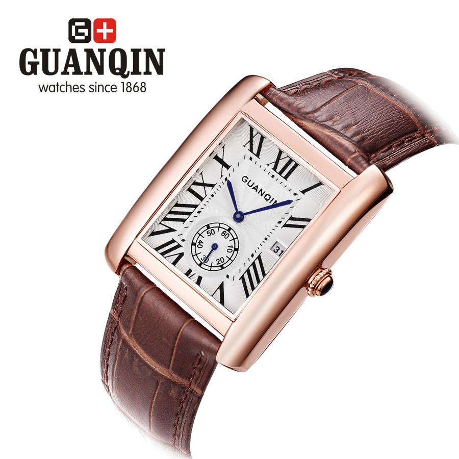 ФОТО Brand GUANQIN Men's watches erkek kol saati quartz watch men dress vintage business classic relogio masculino quartz-watch