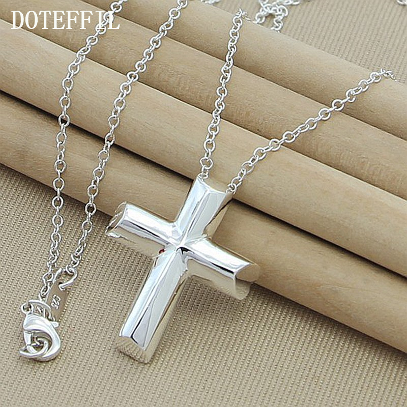 все цены на Wholesale 925 Sterling Silver Cross Necklace Women Necklace Charm Classic Pendant Necklace Free Shipping