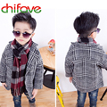 2017 New Autumn Winter Korean Style Boys Children Long Sleeve Coats Turn-down Collar Single Breasted Warm Overcoats for Boys