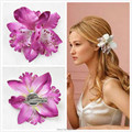 5pc/lot Beach Hairwear Barrette Girl Bohemia Bridal Flower Orchid Leopard Women Hair Clip Hairpins Wedding Decoration
