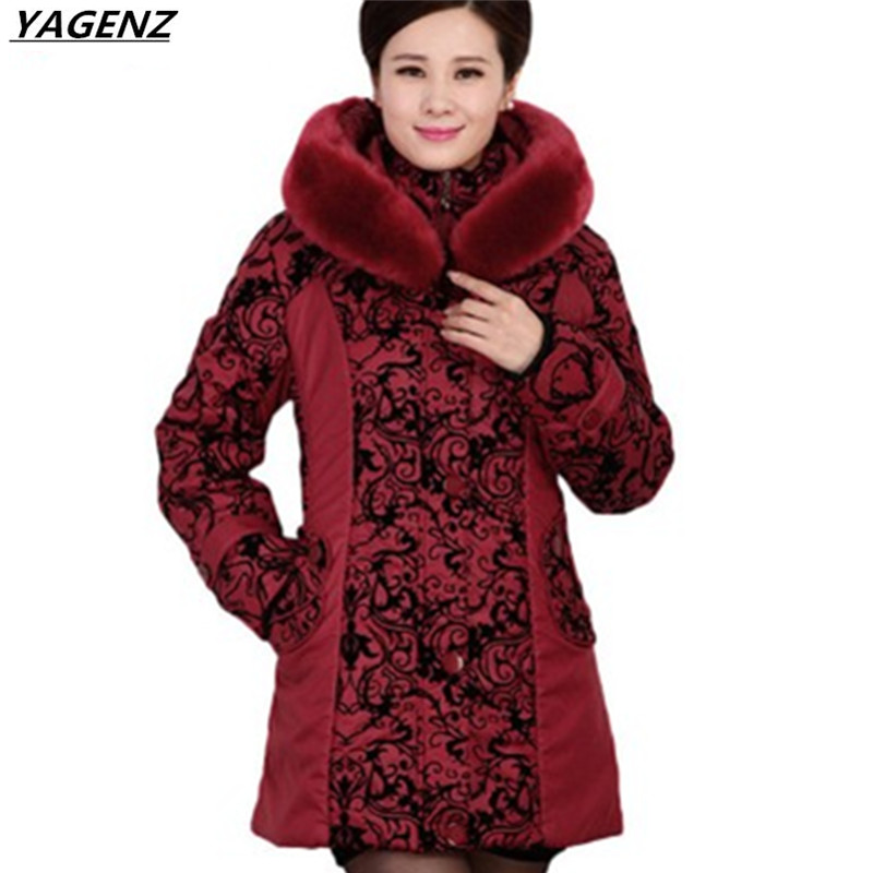 2017Middle-aged Winter Jacket Women Thicken Warm Cotton-padded Outerwear Plus Size Fur Collar Winter Coat Women Parkas YAGENZ446
