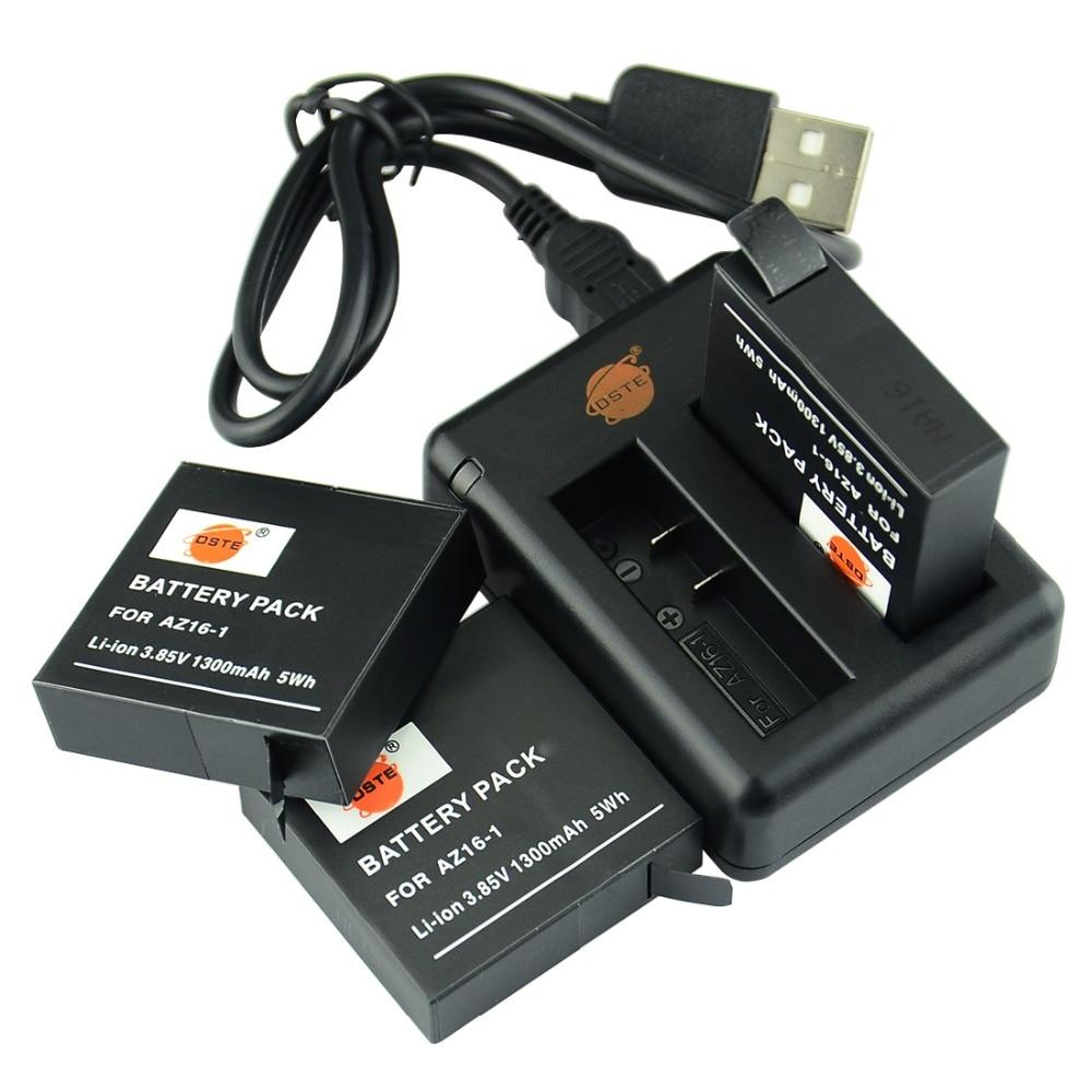 DSTE 3 pcs AZ16-1 Batterie + DBC-A16 USB Chargeur pour Xiaomi Yi 4 K Xiaoyi Yi 2 4 K Caméra